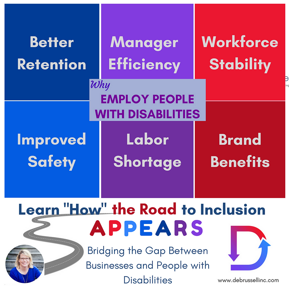 image with reasons for employing people with disabilities: Better Retention, Management Efficiencies, Workforce Stability, Improved Safety, Labor Shortage, Brand, and a link to www.debrussellinc.com