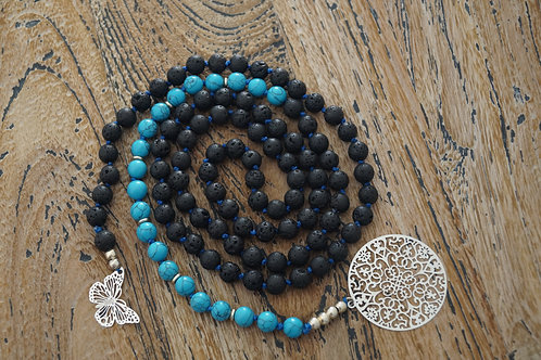 Open Mala 108 Lava stone & blue Howlite