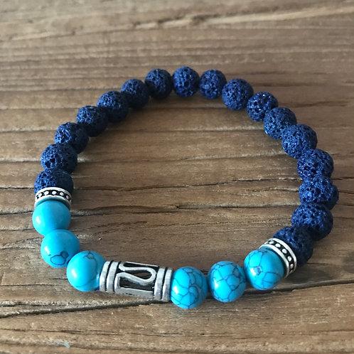 Blue Lava stone & blue Howlite