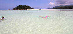 Swimming in crystal clear waters