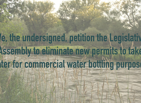 New petition circulating to eliminate new permits to take water for commercial bottling