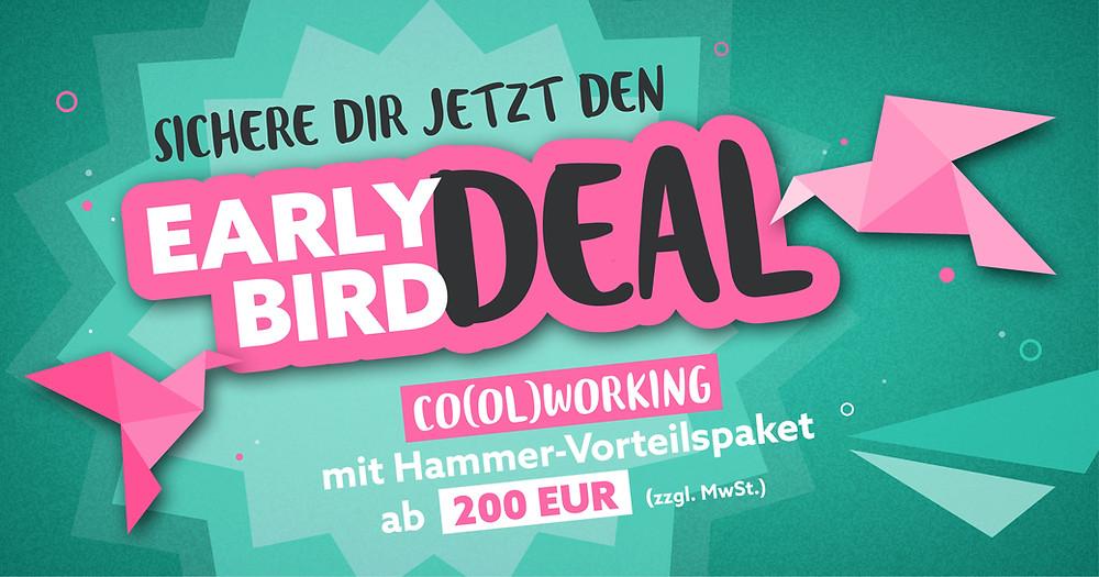 Coworking extra günstig mit dem Early Bird Deal im Hamburger Ding, dem coolsten Coworking Space auf dem Kiez