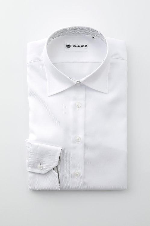 Ladies'ベーシックシャツ ホワイト 〜秘めた想いを袖に託したシャツ〜