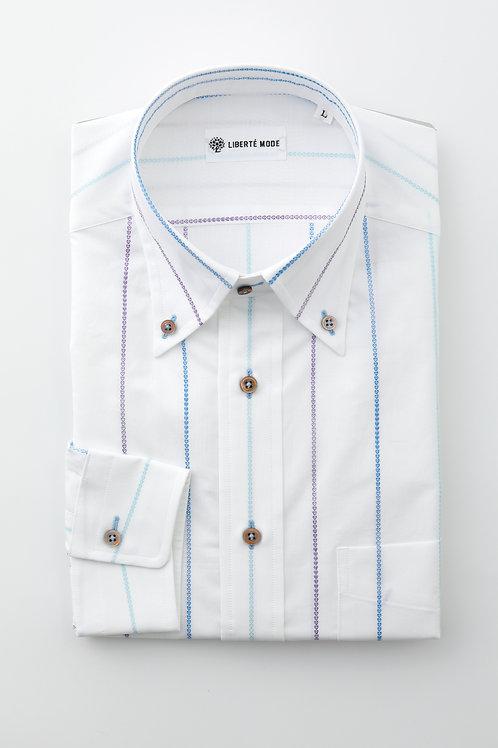 Men'sブルーハートラインストライプシャツ