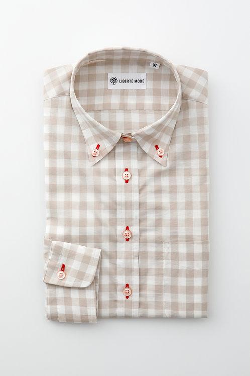 Ladies'ベージュチェックシャツ 〜ちょっと冒険してみたシャツ〜