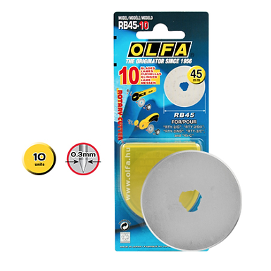 OLFA 45mm Rotary Cutter Replacement Blades x 10
