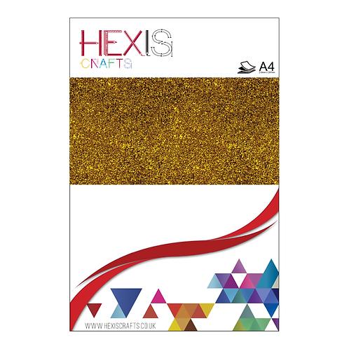 Gold Glitter Heat Transfer Flex Sheets x 6
