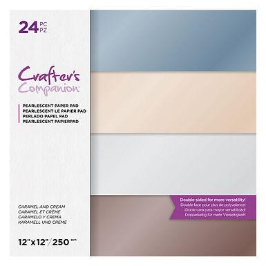 "Caramel & Cream - 12"" x 12"" Centura Pearl 24 Sheet Paper Pad Crafter's Companion"