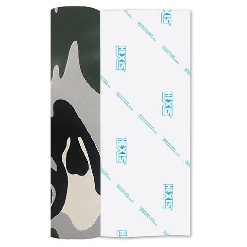 Camouflage Print Heat Transfer Flex 140mm Wide x 500mm Long