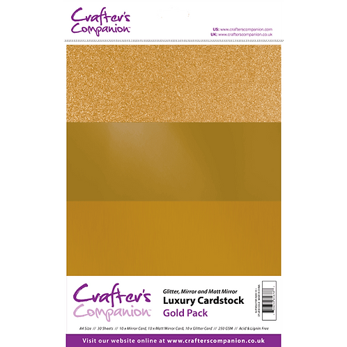 Crafter's Companion A4 Luxury 30 Sheet Card Pack - Gold