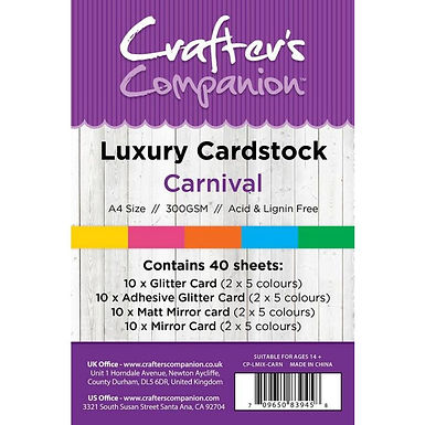 Crafter's Companion A4 Luxury 40 Sheet Card Pack - Carnival
