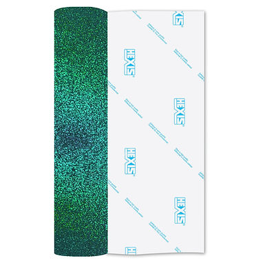 Aqua Glitter Heat Transfer Flex 250mm Wide x 500mm Long