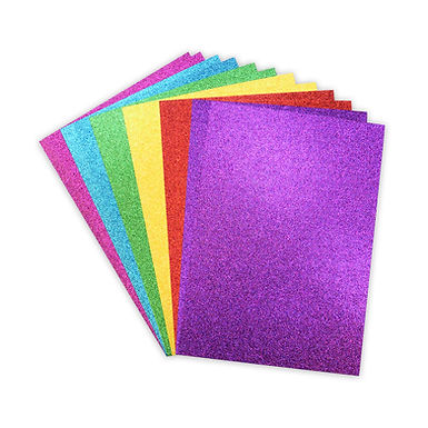 A4 Double Sided Glitter Card Rainbow Bright Pack