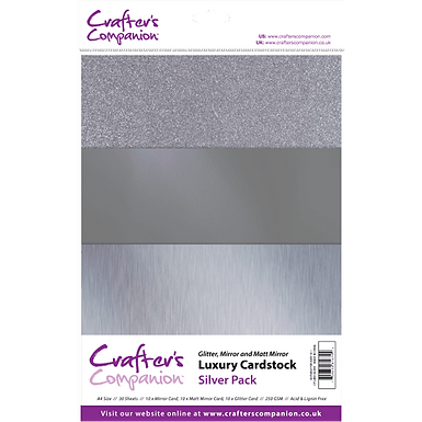 Crafter's Companion A4 Luxury 30 Sheet Card Pack - Silver