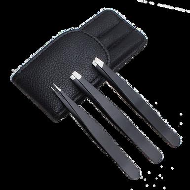 Set of 3 Stainless Steel Metal Tweezers In A Case