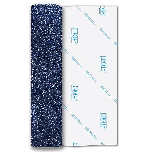 Navy Blue Glitter Heat Transfer Flex 250mm Wide x 500mm Long