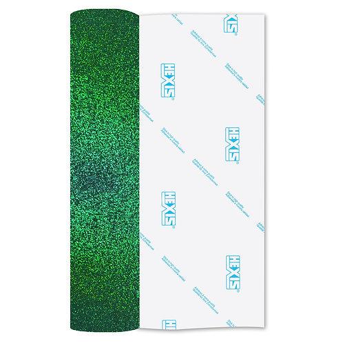 Green Glitter Heat Transfer Flex 140mm Wide x 500mm Long