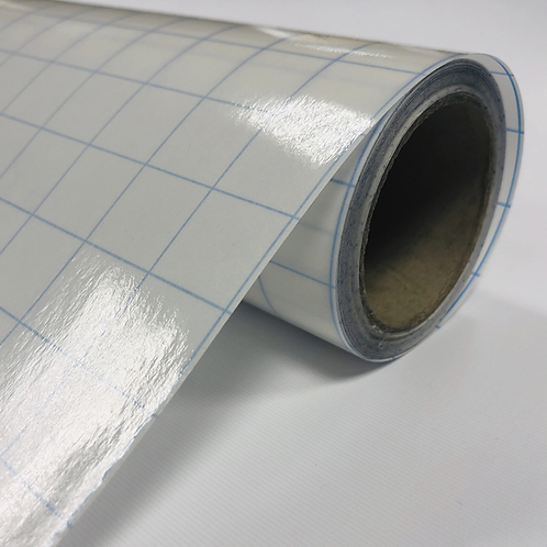 Medium Tack Clear Transfer Tape With Blue Grid Printed Liner