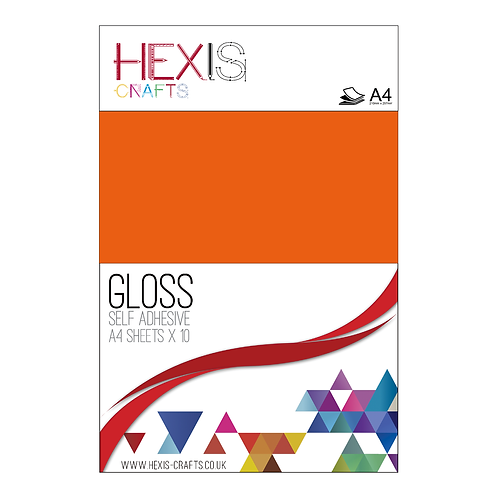 Orange Gloss Self Adhesive Vinyl Sheets x 10