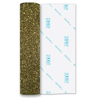 Gold Glitter Heat Transfer Flex 250mm Wide x 500mm Long