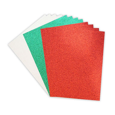 A4 Double Sided Glitter Card Festive Pack
