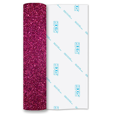 Fuchsia Glitter Heat Transfer Flex 250mm Wide x 500mm Long