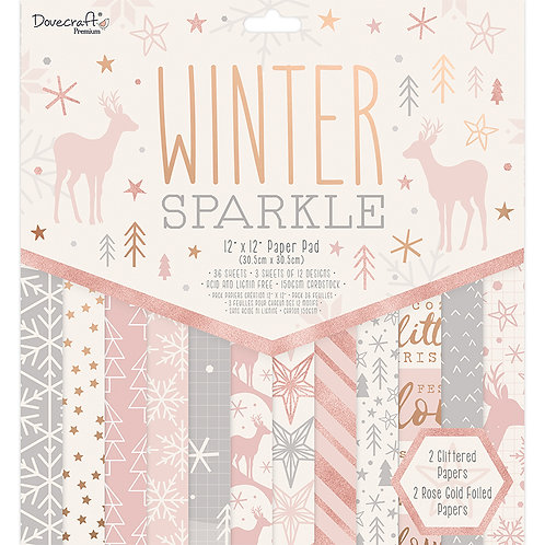 """12"""" x 12"""" Premium Winter Sparkle Paper Pad"""