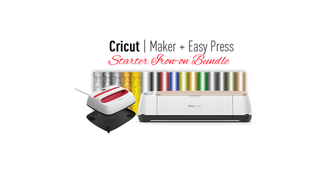 "Cricut Maker® Machine With Easy Press2 12"" x 10"" & Starter Iron-on Bundle"