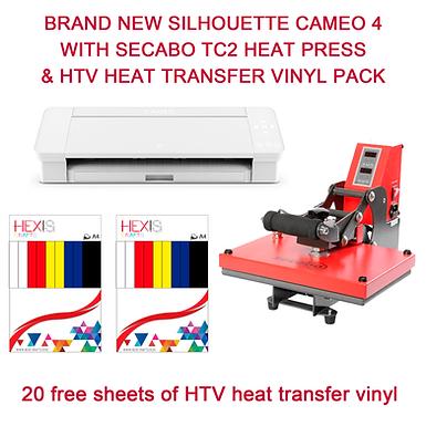 Silhouette Cameo 4 With SECABO TC2 Heat Press & HTV Bundle