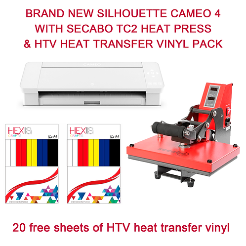Silhouette Cameo 4 With SECABO TC2 Heat Press & HTV Bundle