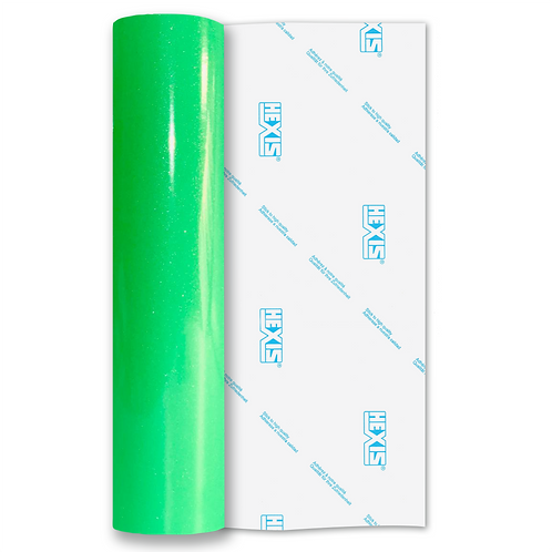 Ultra Glitter Fluorescent Green Self Adhesive Vinyl 305mm x 5m