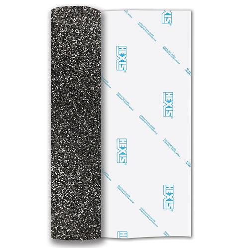 Black Glitter Heat Transfer Flex 250mm Wide x 500mm Long