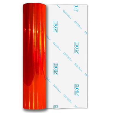 Fluorescent Orange Rainbow Chrome Self Adhesive Vinyl