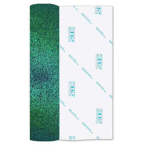 Emerald Glitter Heat Transfer Flex 140mm Wide x 500mm Long