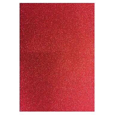 A4 Glitter Card Red