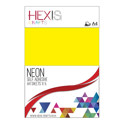 Yellow Neon Gloss Self Adhesive Vinyl Sheets x 5