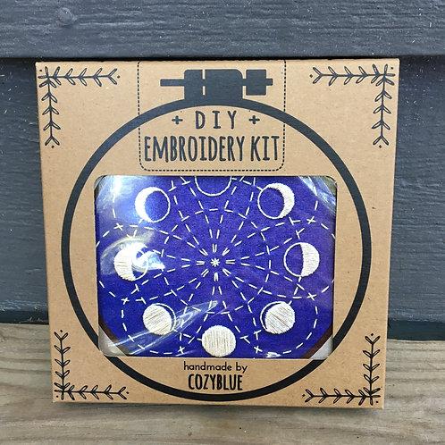 Lunar Blossom Embroidery Kit (Cozy Blue)