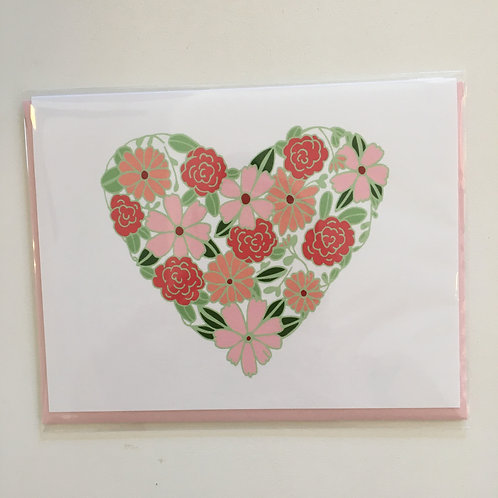Floral Heart Card (Pen & Paint)