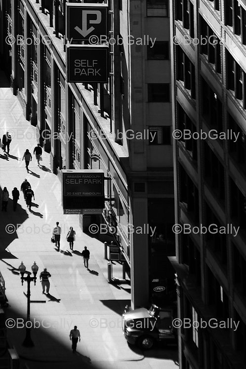 Chicago sidewalk from above