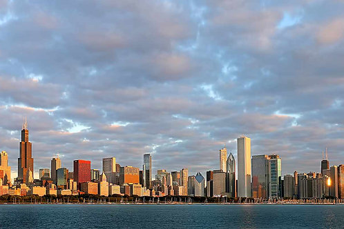 Chicago Skyline waterfront with clouds