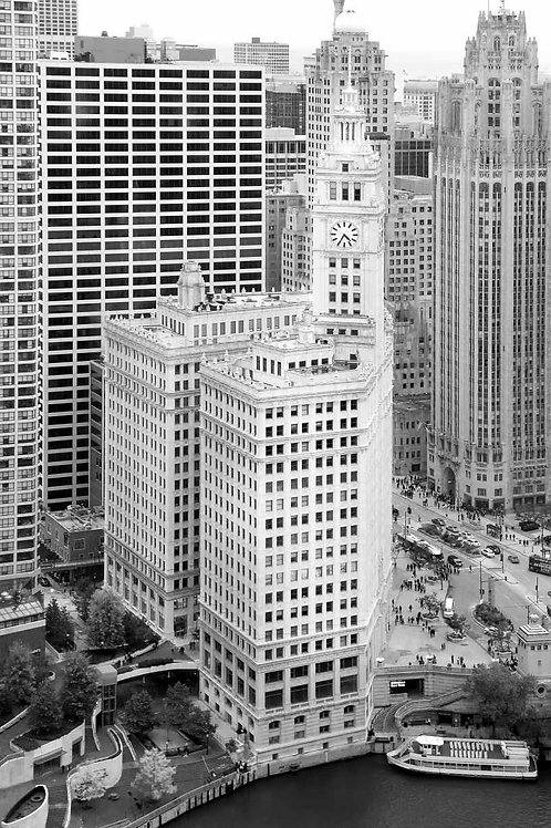 Wrigley Building Black and White from SW aerial