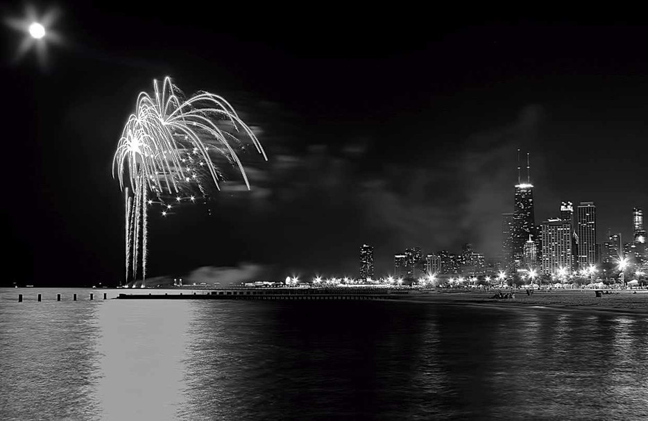 Chicago Fireworks Black and White