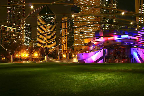 Millennium Park bandshell in purple