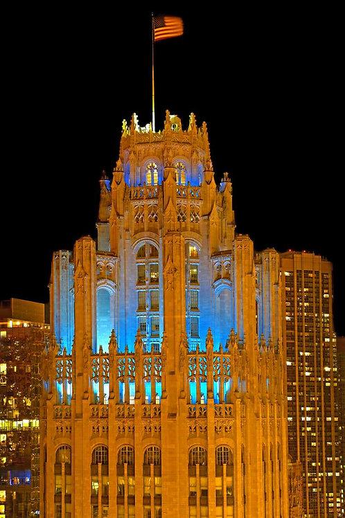 Tribune Tower Crown blue light