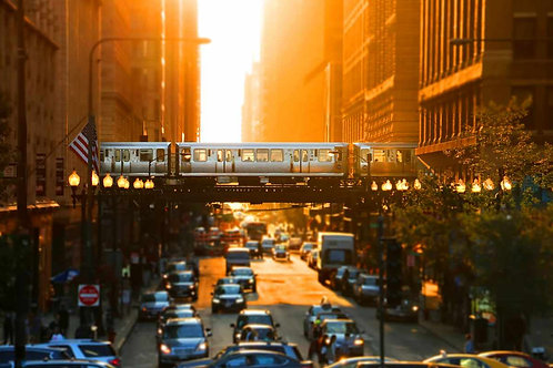 Chicago Loop El sun glow