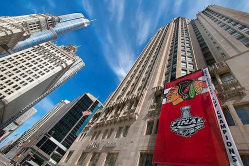 Blackhawks banner on Chicago Tribune Tower Photo