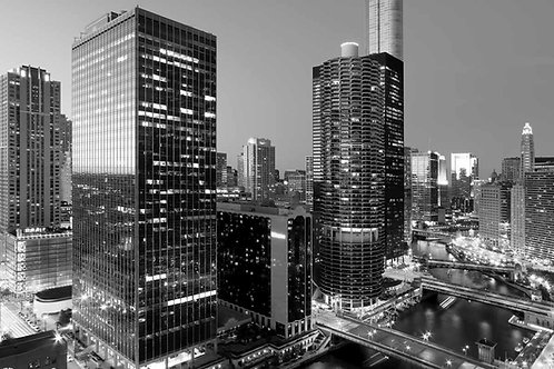 Marina City Black and White from SW