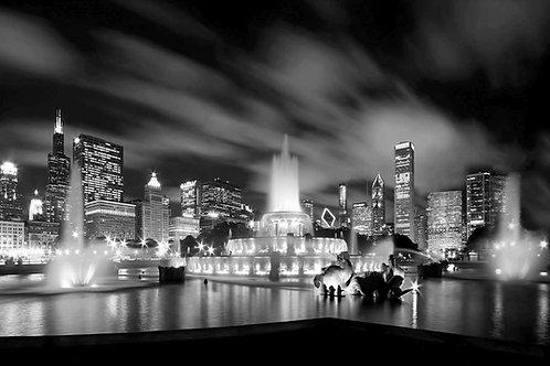 Buckingham Fountain Chicago Black and White