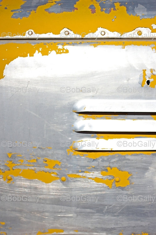 Aluminum and Yellow paint abstract photograph