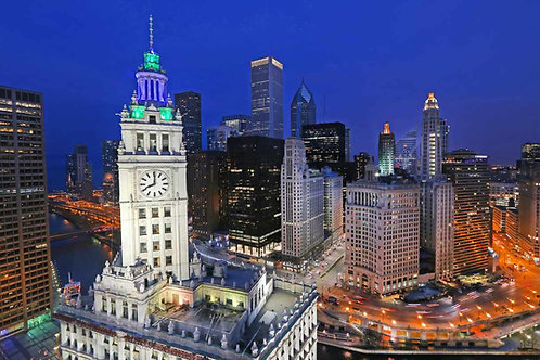 Wrigley Building with green